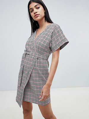 ASOS DESIGN wrap mini dress in check with kimono sleeve