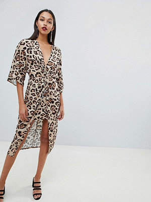 ASOS DESIGN satin kimono midi dress in leopard print - Animal print