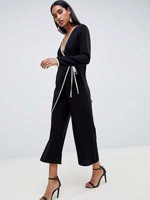 ASOS DESIGN kimono jumpsuit with tipping - Black and white