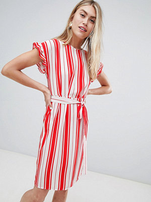 Miss Selfridge midi dress with tie waist in stripe