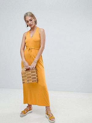 Warehouse midi dress with tie waist in yellow - Mustard