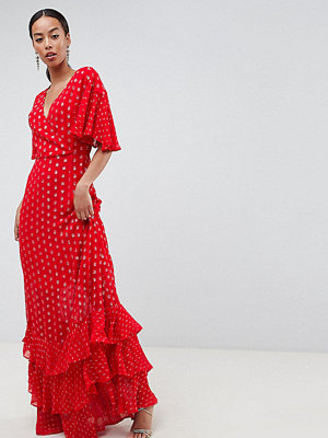 Asos Tall ASOS DESIGN Tall Tiered Metallic Maxi Dress - Red
