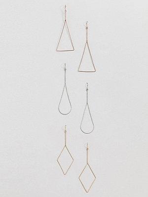 Aldo örhängen 3 Multipack Gold Shaped Hooped Earrings