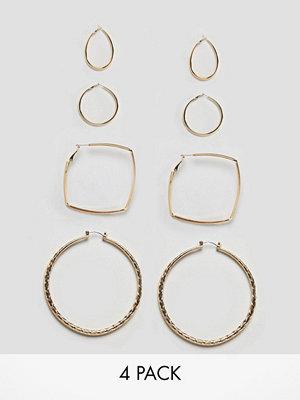 Glamorous örhängen Gold Multi Pack Hoops