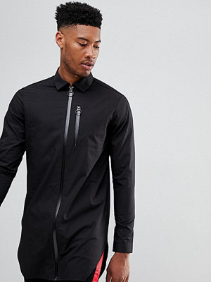 ASOS DESIGN tall longline shirt with taped zips
