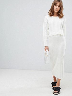 ASOS DESIGN co-ord midi skirt in wide rib