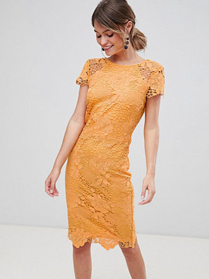 Paper Dolls Cap Sleeve Crochet Pencil Dress - Warm ochre
