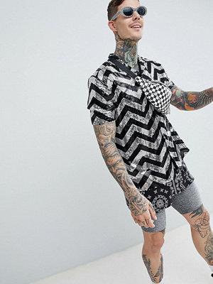 ASOS DESIGN festival oversized sequin chevron stripe shirt