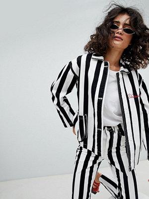 Jeansjackor - Uncivilised Reff Striped Workers Jacket - Black/white/red