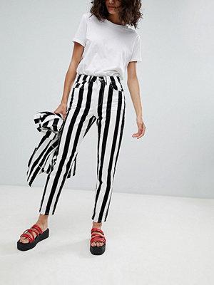 Uncivilised Reff Randiga jeans med hög midja Svart/vit