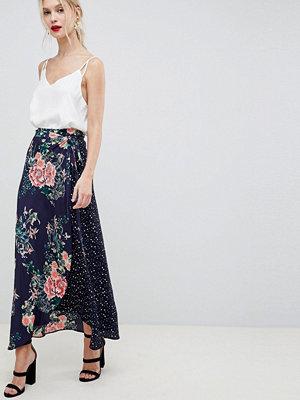 Liquorish polka dot and floral mixed print wrap maxi skirt