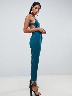 ASOS DESIGN square neck jumpsuit with gold trim detail - Teal