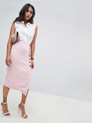 ASOS DESIGN side button pencil skirt with asymmetric hem - Blush