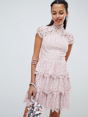 Chi Chi London tiered lace high neck skater dress - Mink