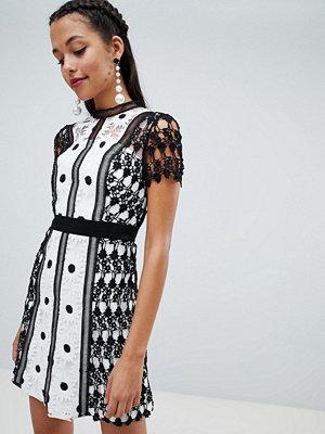 Chi Chi London lace applique a line dress - Monochrome