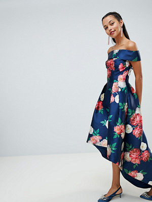 Chi Chi London floral printed bardot midi dress with high low hem - Navy multi