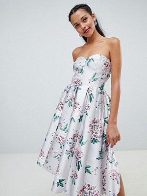 Chi Chi London floral printed bandeau midi dress