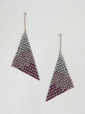 ASOS örhängen DESIGN earrings in ombre crystal chainmail design - Gunmetal