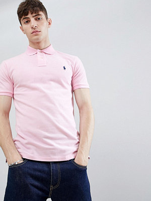 Polo Ralph Lauren slim fit pique polo player logo in light pink - Bath pink