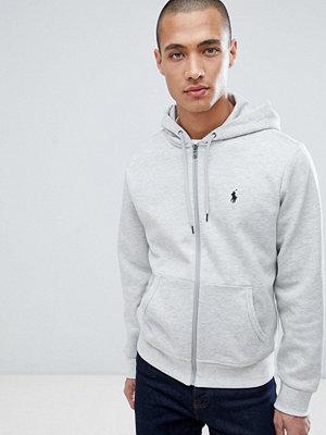 Polo Ralph Lauren player logo full zip hoodie in grey marl - Light sport heather