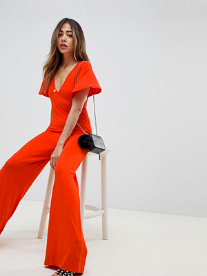 ASOS DESIGN jumpsuit with flutter sleeve and tie back