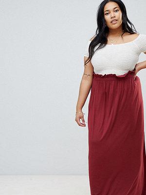 ASOS DESIGN Curve maxi skirt with paperbag waist - Burgundy