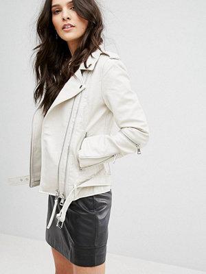 Mango Leather Look Biker Jacket With Buckle Detail