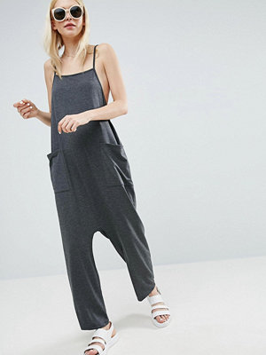 ASOS DESIGN Jersey Minimal Jumpsuit with Ties - Charcoal
