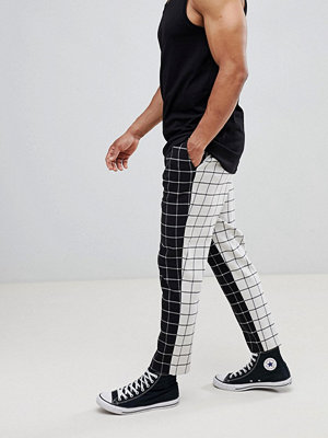ASOS DESIGN tapered smart trousers in half & half check - Muilti