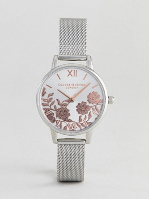Klockor - Olivia Burton OB16MV90 3Lace Detail Mesh Watch In Silver/Rose Gold