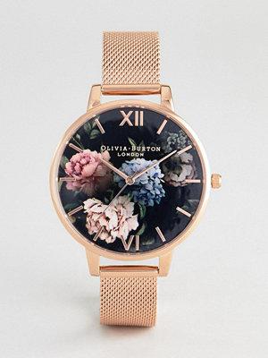 Klockor - Olivia Burton OB16WG52 Dark Bouquet Mesh Watch In Rose Gold - Rose gold
