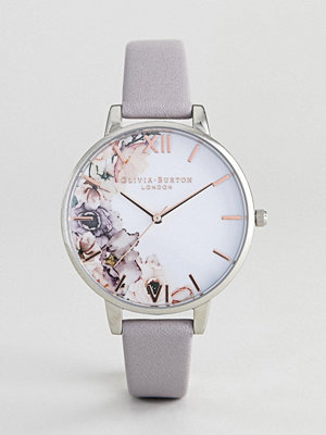 Klockor - Olivia Burton OB16PP32 Watercolour Floral Leather Watch In Grey Lilac