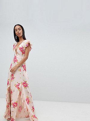 Asos Tall ASOS DESIGN Tall plunge maxi dress in floral print