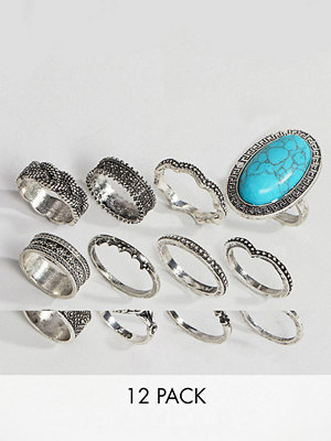 ASOS DESIGN Pack Of 12 Festival Engraved Burnished Stone Rings