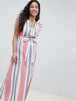 ASOS Maternity ASOS DESIGN Maternity maxi dress with tie detail in linen stripe