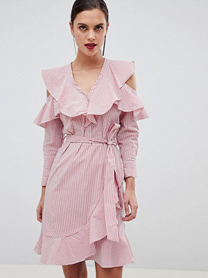 Y.a.s Ruffle Stripe Dress With Cold Shoulder - Stripe