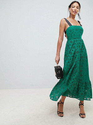 ASOS DESIGN Premium Broderie Maxi Dress With Contrast Straps - Green