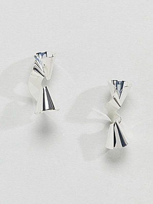 Glamorous örhängen Silver Metal Twist Earrings (+)