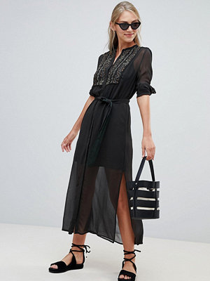 French Connection Donna Sheer Shirt Dress - Ink green