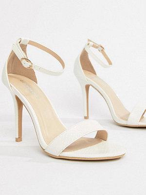 Glamorous White Barely There Heeled Sandal - White snake