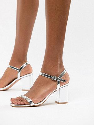 Glamorous Silver Block Heel Sandals - Silver mirror