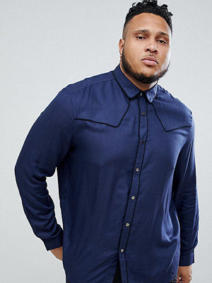 ASOS DESIGN plus regular fit western viscose shirt in navy with poppers