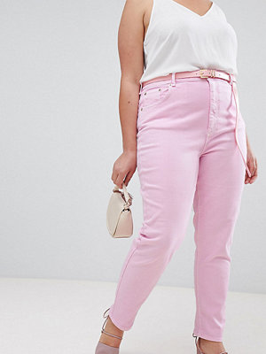 ASOS Curve ASOS DESIGN Curve Farleigh high waist mom jeans in washed pink with belt