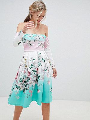 ASOS DESIGN Bardot Ombre Floral Print Midi Prom Dress - Multi
