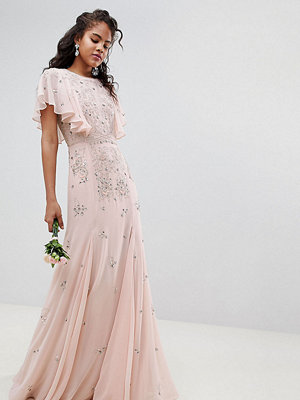 Asos Tall ASOS DESIGN Tall delicate embellished bridesmaids maxi dress with angel sleeve - Blush