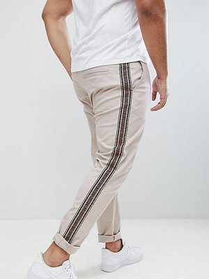 ASOS DESIGN Plus skinny trousers with aztec side taping in beige - Mushroom