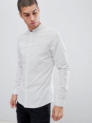ASOS DESIGN smart skinny polka dot shirt with manderin collar