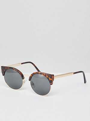 Monki cat eye sunglasses in gold and tortoise - Tortoise