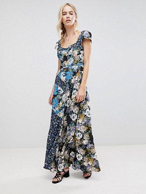 Free People La Fleur Mixed Floral Print Maxi Dress - Dark blue