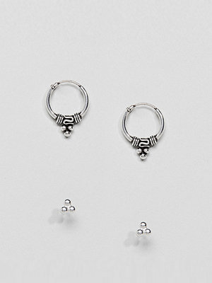 Kingsley Ryan örhängen Sterling Silver Bali Hoop & Stud Earrings Set